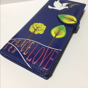 NWT Vegan Leather Wallet - Peace Doves -Royal Blue